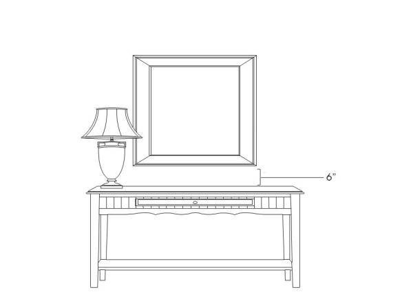 hanging artwork over console or sideboard