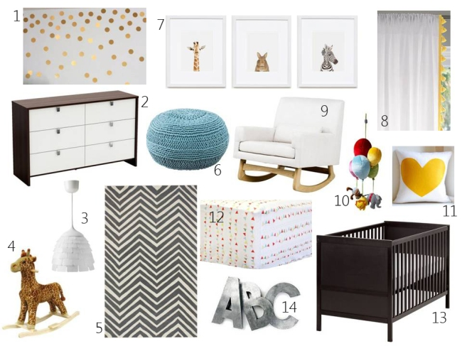 Nursery Design Board with labels